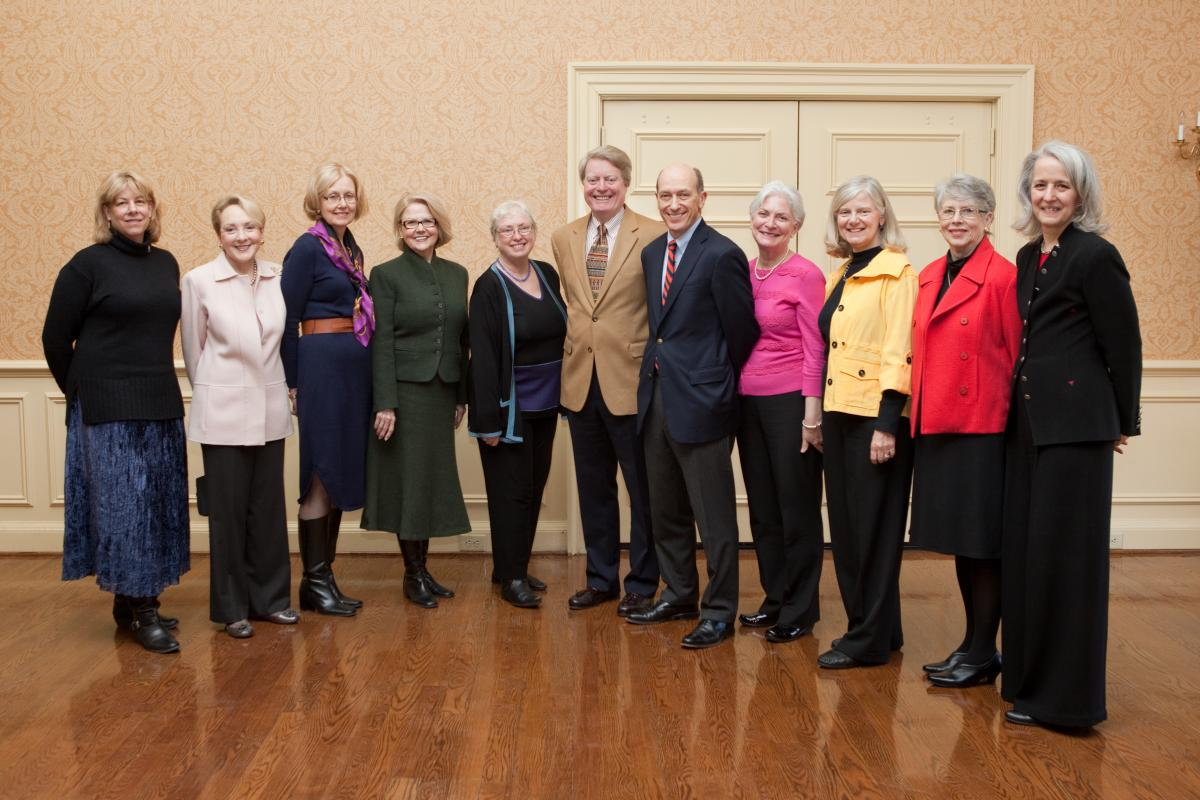 The founding members of the Patients & Friends Research Fund stand with UVA Cancer Center Director Dr. Tom Loughran.