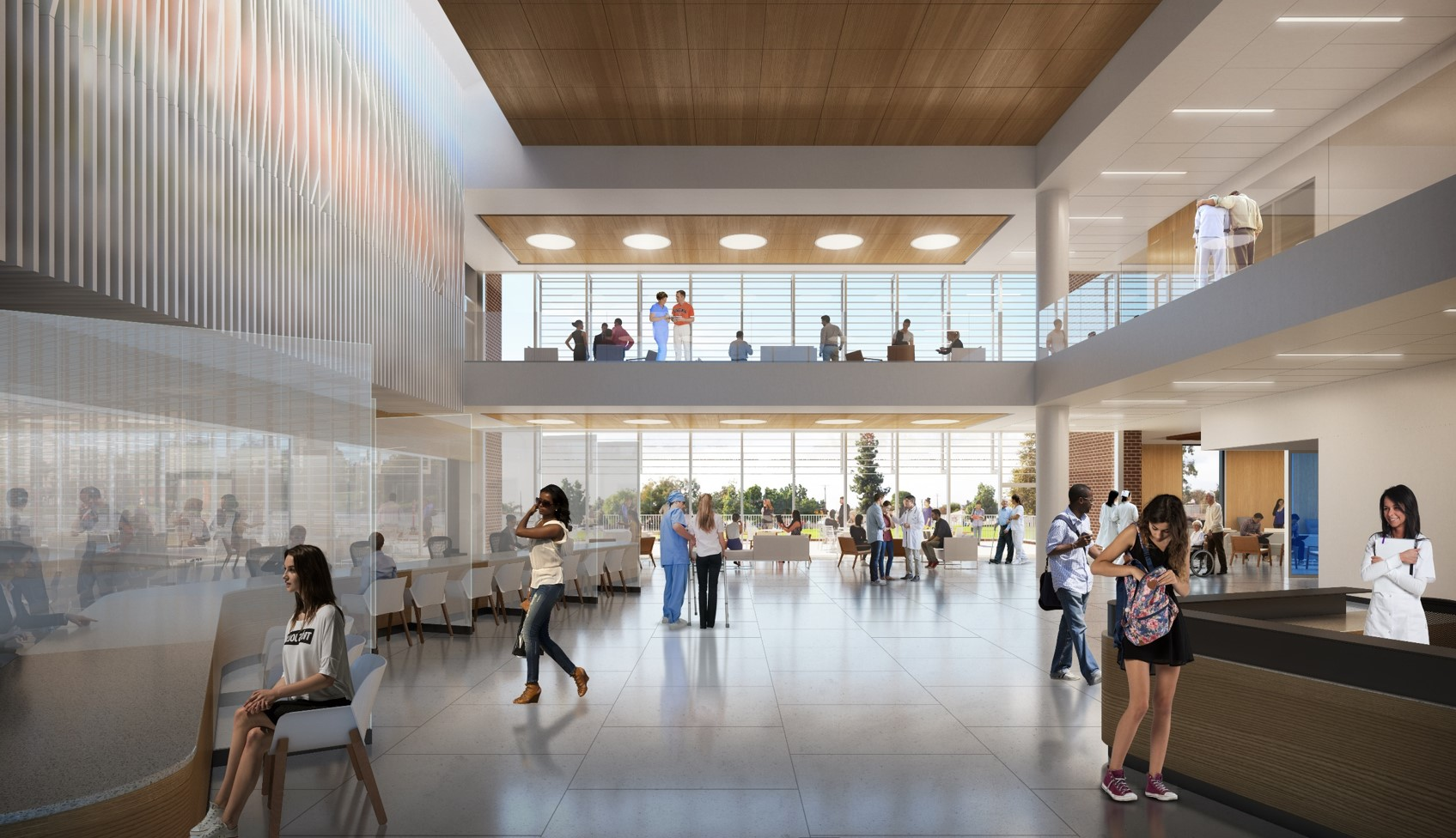 A rendering of the lobby of the orthopedic outpatient care facility.