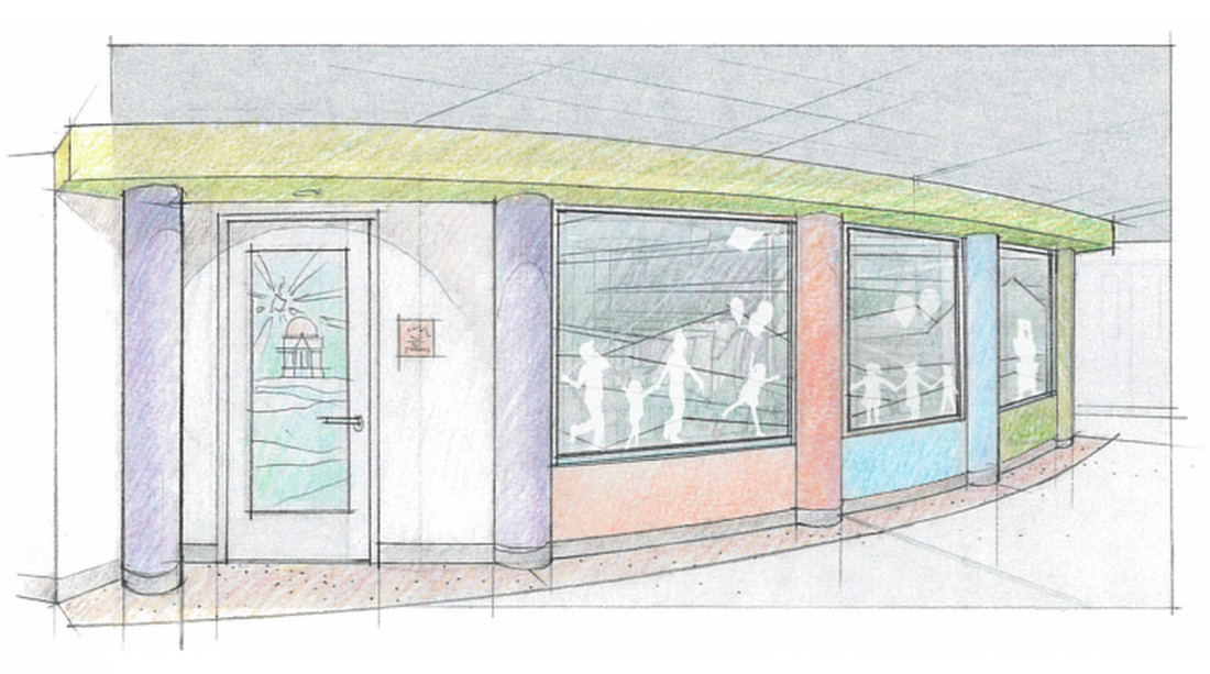 Renderings of the Panera Change for Children Family Room on the 7th floor of UVA Medical Center.