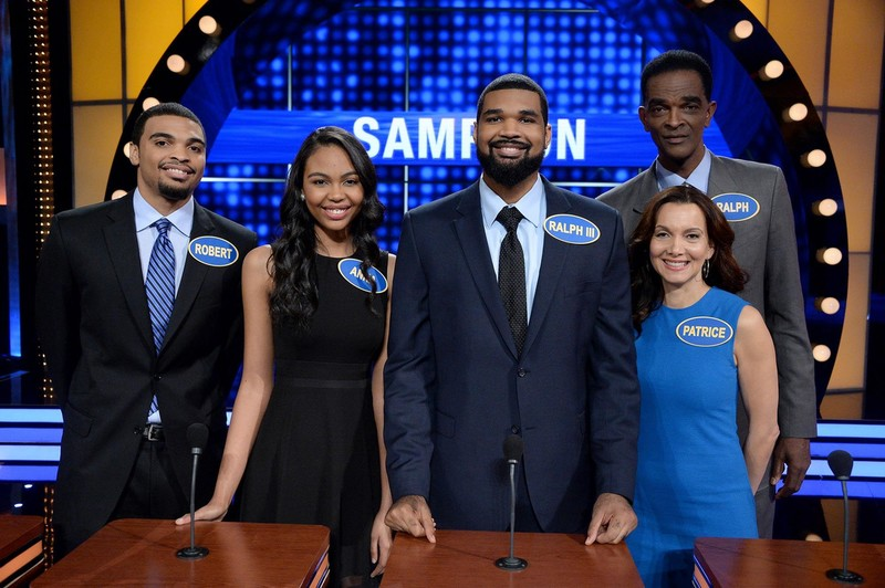 Pictured on Celebrity Family Feud, left to right, are Robert Alan Sampson, Anna Aleize Sampson, Ralph Lee Sampson III, Patrice Ablack and Ralph Sampson.