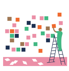 Illustration of a person putting sticky notes on a wall.