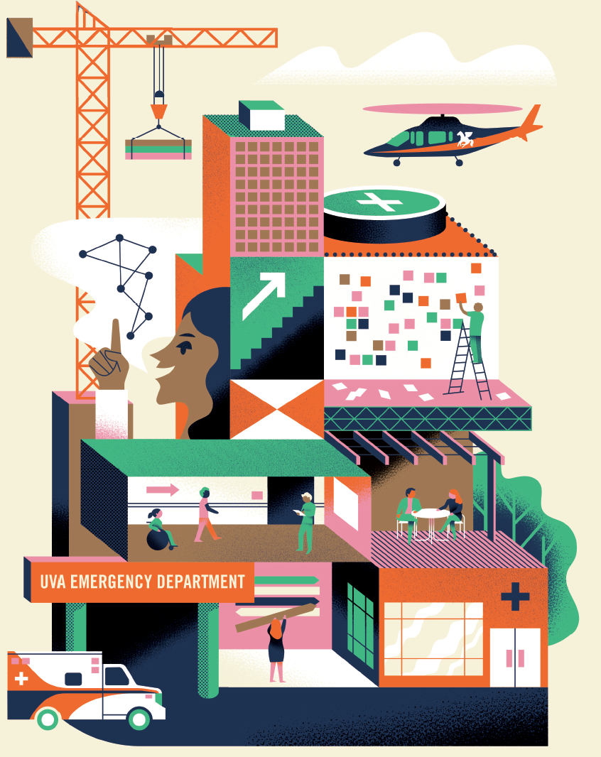 An abstract illustration shows the reconstruction of the emergency department complete with a crane, helicopter, and various figures. Theme colors are orange, pink, blue and green.