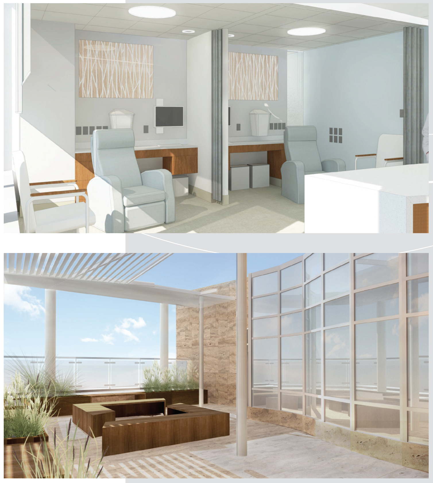 renderings of a new infusion space in the cancer center and a new balcony space
