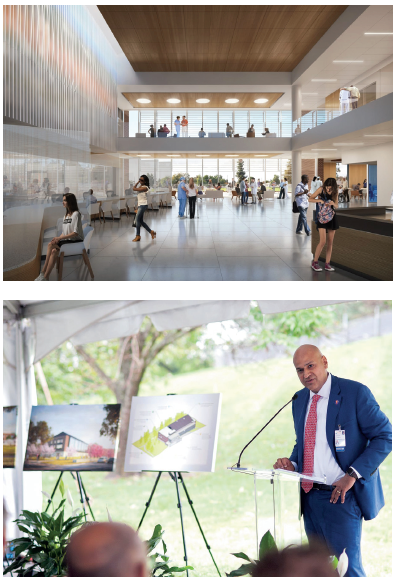 Top photo shows a rendering of the lobby at Ivy Mountain, bottom photo shows Bobby Chhabra speaking at the building's groundbreaking