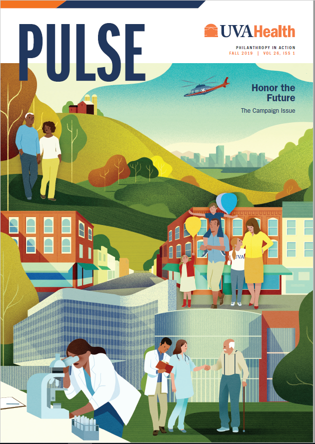 Cover of Pulse 2019 depicts community members and doctors interacting.