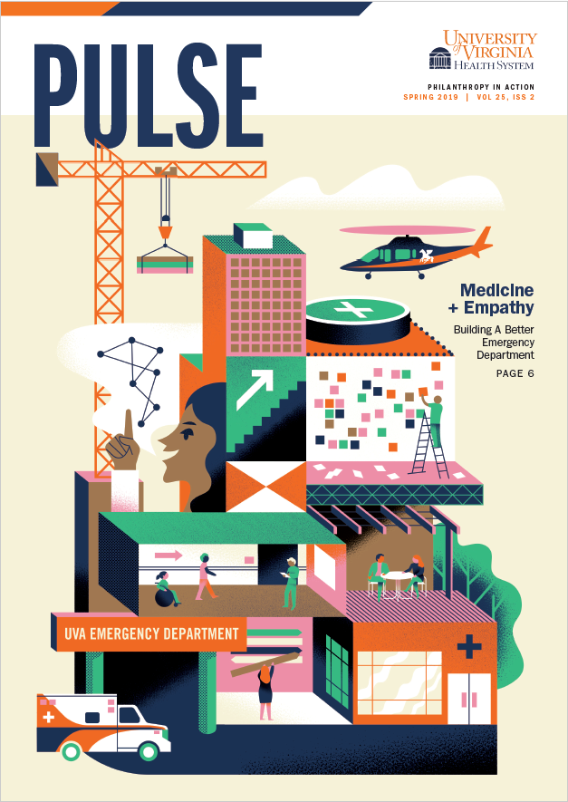 Cover of Pulse 2019 illustration depicts a building and people interacting on each floor.