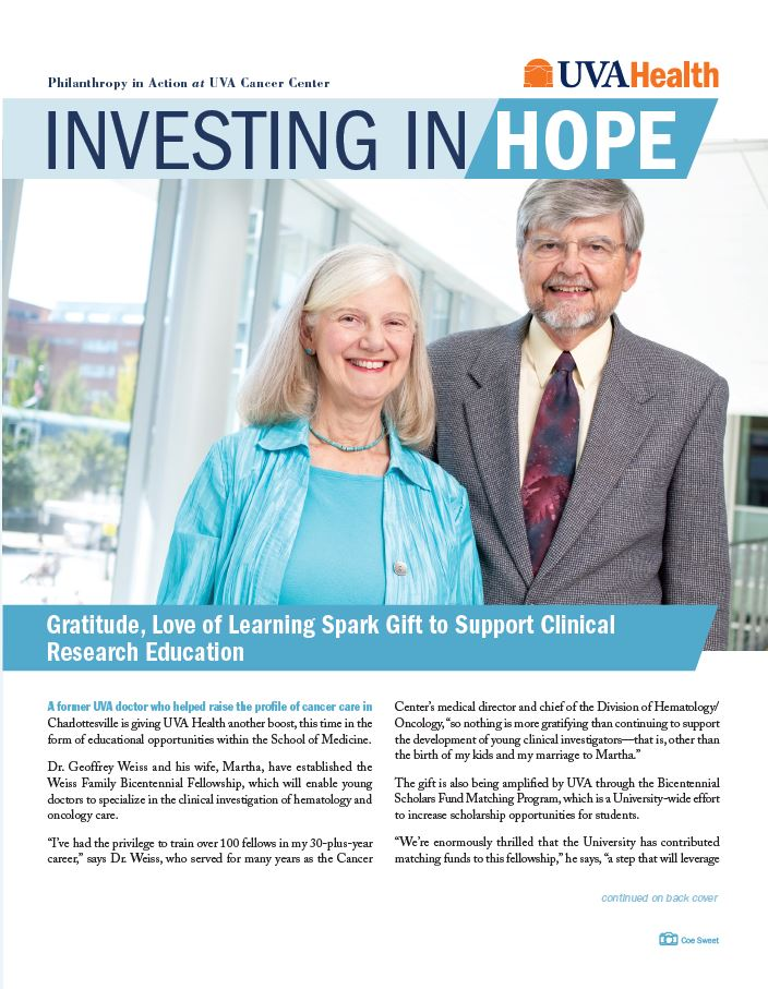 Cover of Investing in Hope features Dr. Weiss and his wife, Martha.