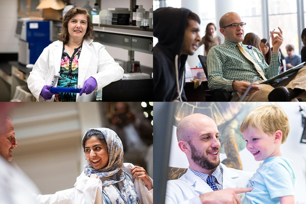 A collage of photo featuring a doctor, researcher, and medical and nursing students.