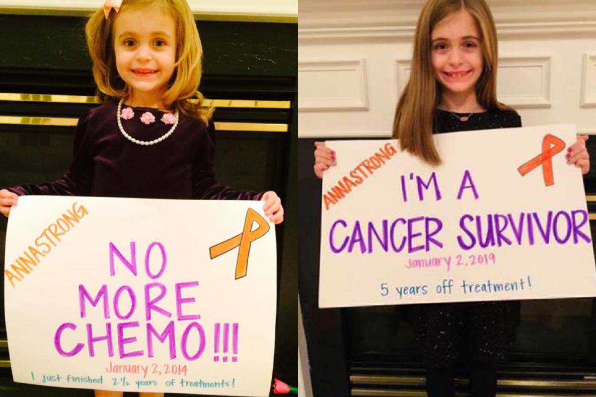 Side-by-side photos of Anna, a pediatric cancer survivor, right after her chemo treatment and in January 2019.