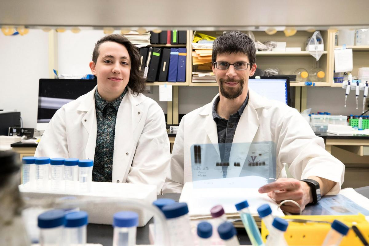 Graduate student Dorian A Rosen, left, and head researcher Alban Gaultier of the Department of Neuroscience, in the Gaultier lab.