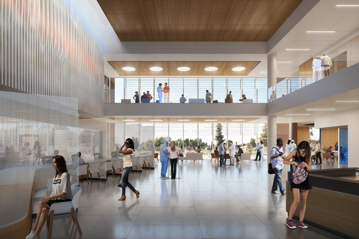 A rendering of the Ivy Mountain facility's lobby.