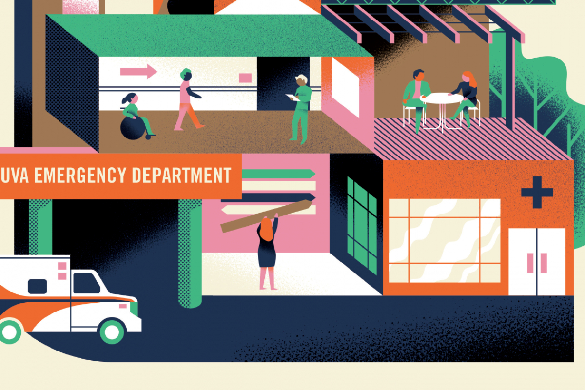 Abstract illustration of UVA's emergency department.