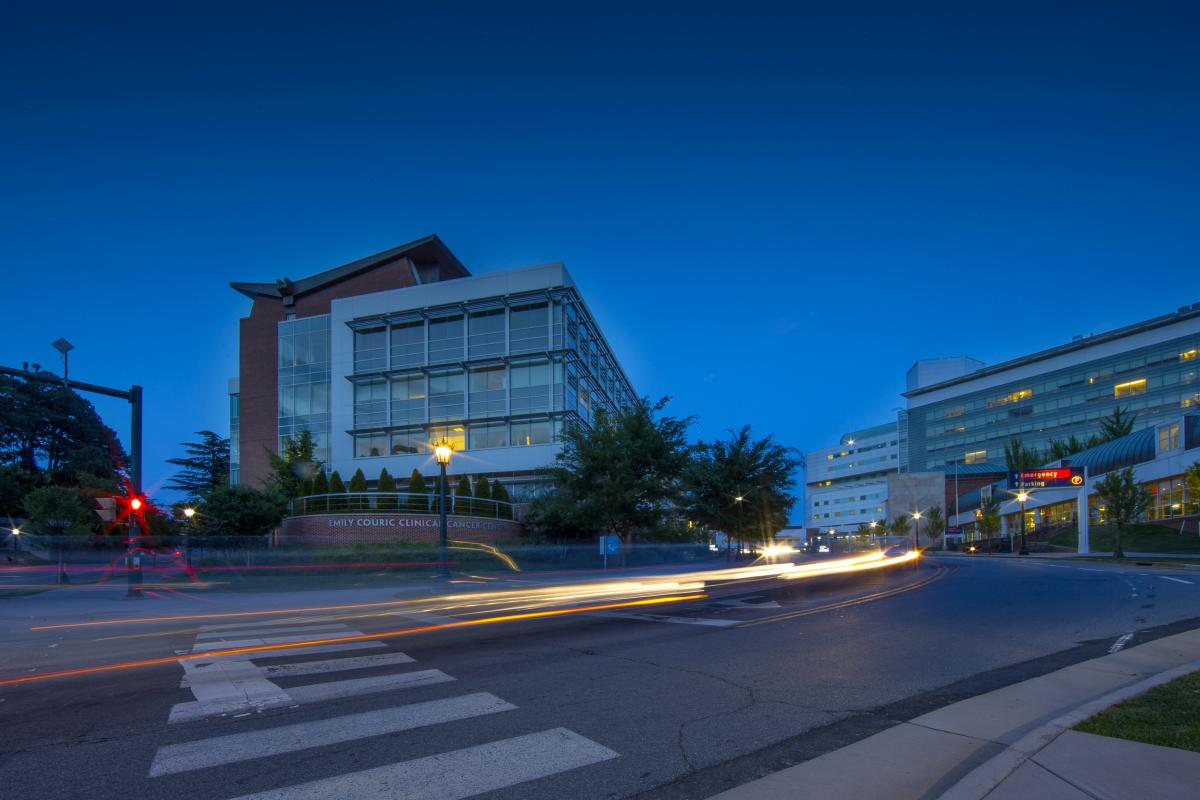 The Couric Cancer center at night.