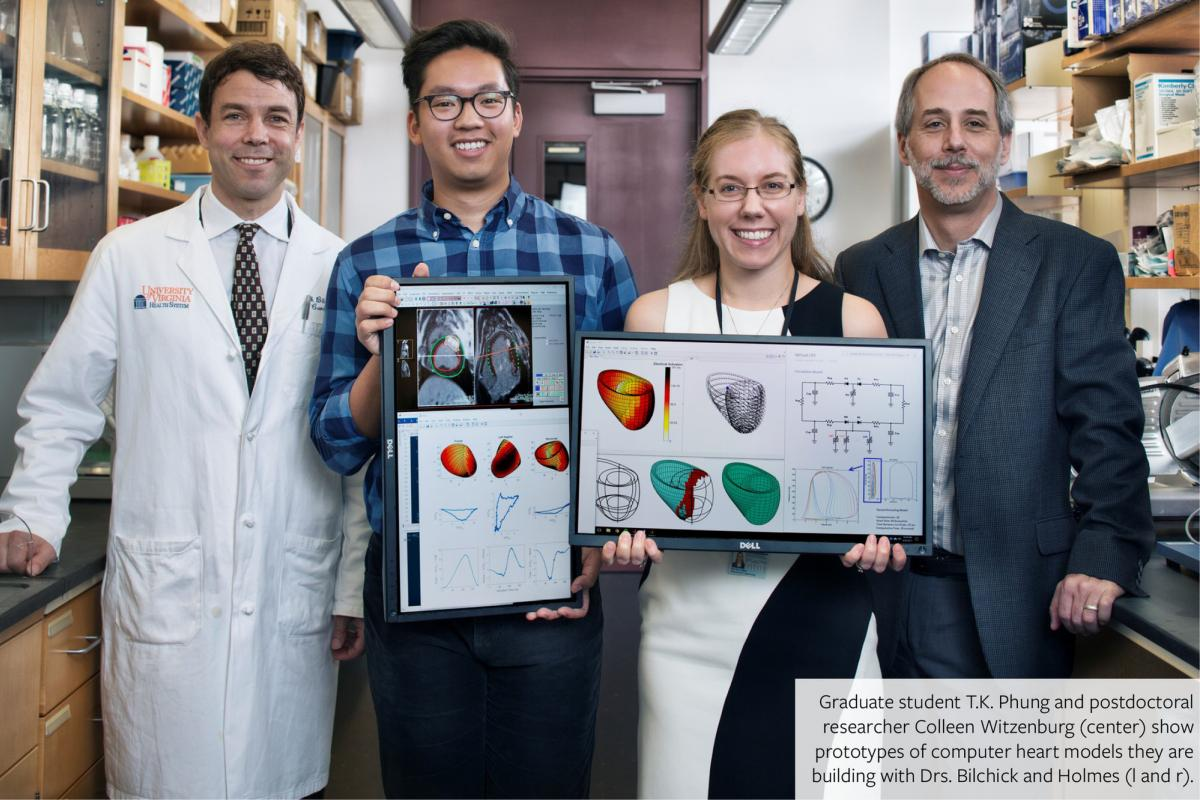 Graduate student T.K. Phung and postdoctoral researcher Colleen Witzenburg (center) show prototypes of computer heart models they are building.