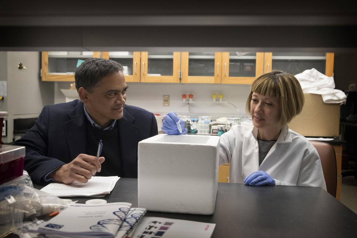 Kodi Ravichandran (left) consults with Sanja Arandjelovic in a medical lab setting.