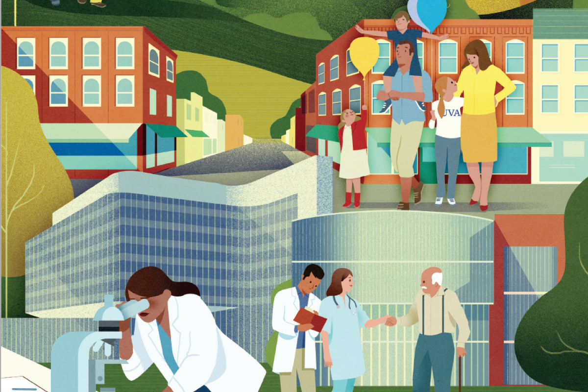 abstract illustration depicting research and patient care at UVA, with identifiable buildings and a scene on the downtown mall